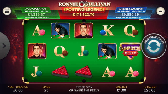 Ronnie O'Sullivan Sporting Legends Slot Review